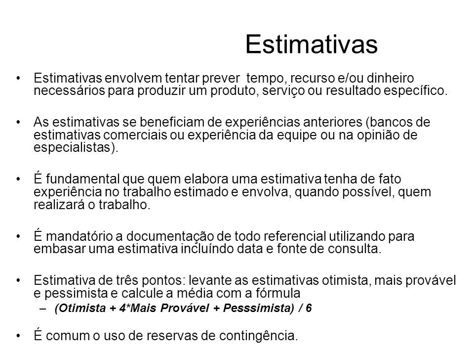 Estimativas Estimativas envolvem tentar prever tempo, recurso e/ou dinheiro necessários para produzir um produto, serviço ou resultado específico. As