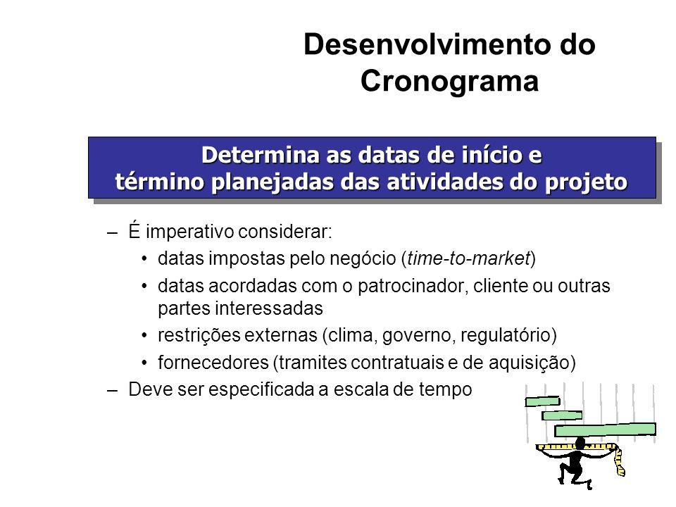 Desenvolvimento do Cronograma –É imperativo considerar: datas impostas pelo negócio (time-to-market) datas acordadas com o patrocinador, cliente ou ou