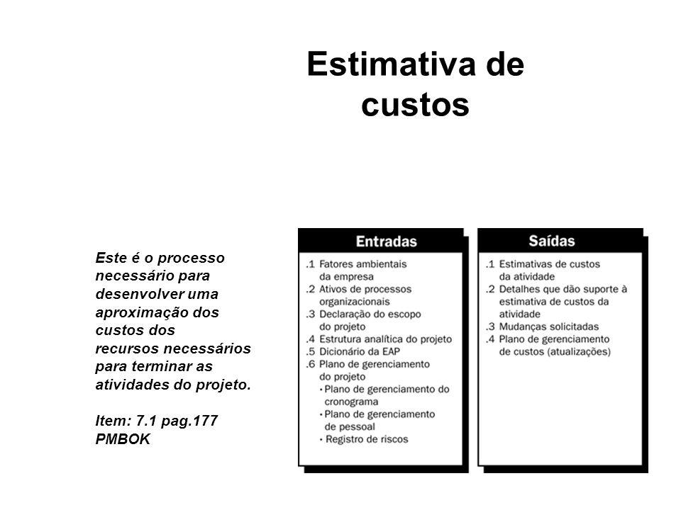Estimativa de custos Este é o processo necessário para desenvolver uma aproximação dos custos dos recursos necessários para terminar as atividades do