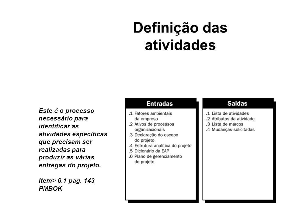 Definição das atividades - Uma vez o escopo do projeto definido e seus principais produtos (deliverables) identificados, as atividades do projeto para o alcance dos objetivos precisam ser definidas, seqüenciadas e estimadas em termos de recursos necessários e duração.