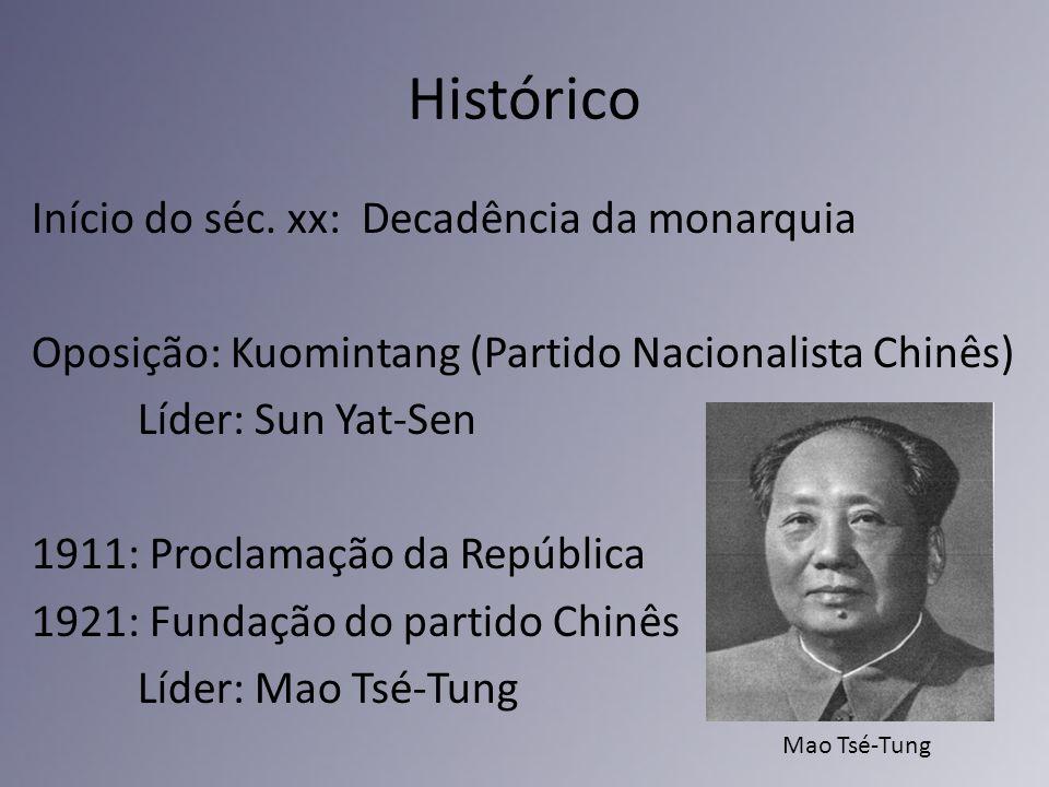 Histórico Início do séc. xx: Decadência da monarquia Oposição: Kuomintang (Partido Nacionalista Chinês) Líder: Sun Yat-Sen 1911: Proclamação da Repúbl