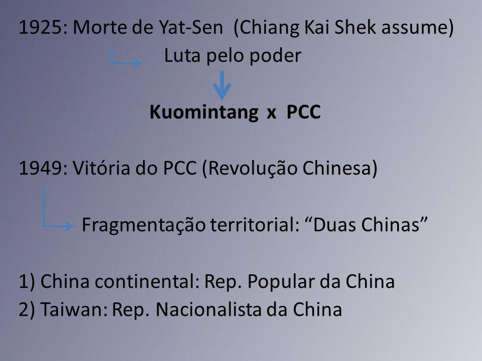 1925: Morte de Yat-Sen (Chiang Kai Shek assume) Luta pelo poder Kuomintang x PCC 1949: Vitória do PCC (Revolução Chinesa) Fragmentação territorial: Du