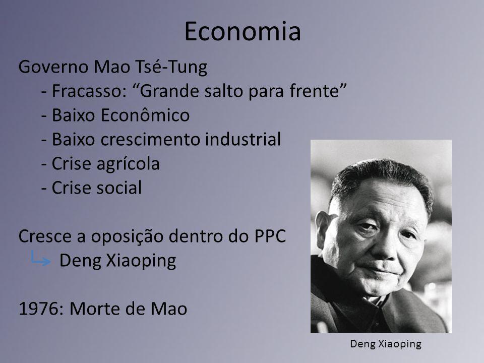 Economia Governo Mao Tsé-Tung - Fracasso: Grande salto para frente - Baixo Econômico - Baixo crescimento industrial - Crise agrícola - Crise social Cr