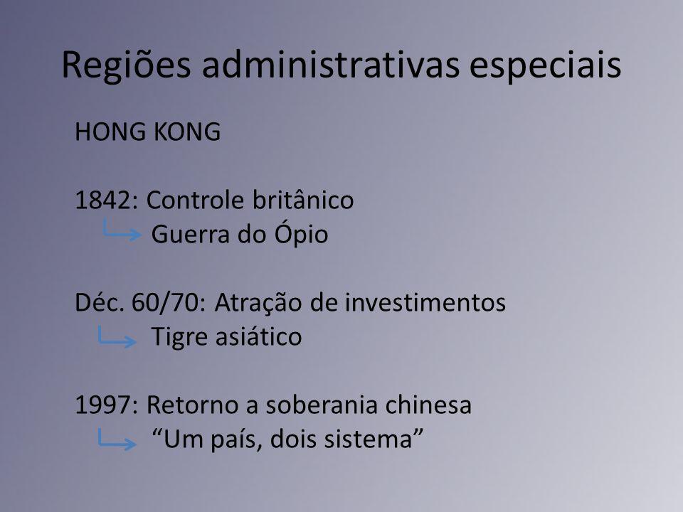 Regiões administrativas especiais HONG KONG 1842: Controle britânico Guerra do Ópio Déc. 60/70: Atração de investimentos Tigre asiático 1997: Retorno