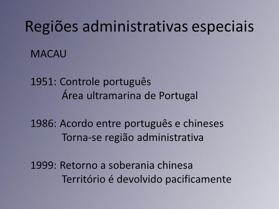 Regiões administrativas especiais MACAU 1951: Controle português Área ultramarina de Portugal 1986: Acordo entre português e chineses Torna-se região