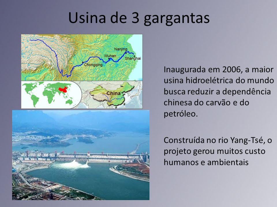 Usina de 3 gargantas Inaugurada em 2006, a maior usina hidroelétrica do mundo busca reduzir a dependência chinesa do carvão e do petróleo. Construída