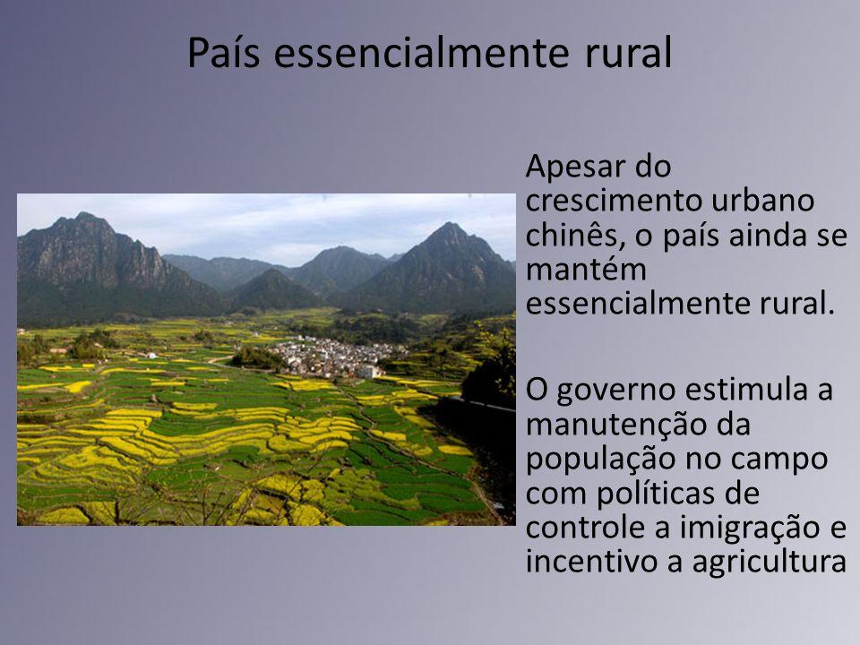 País essencialmente rural Apesar do crescimento urbano chinês, o país ainda se mantém essencialmente rural. O governo estimula a manutenção da populaç