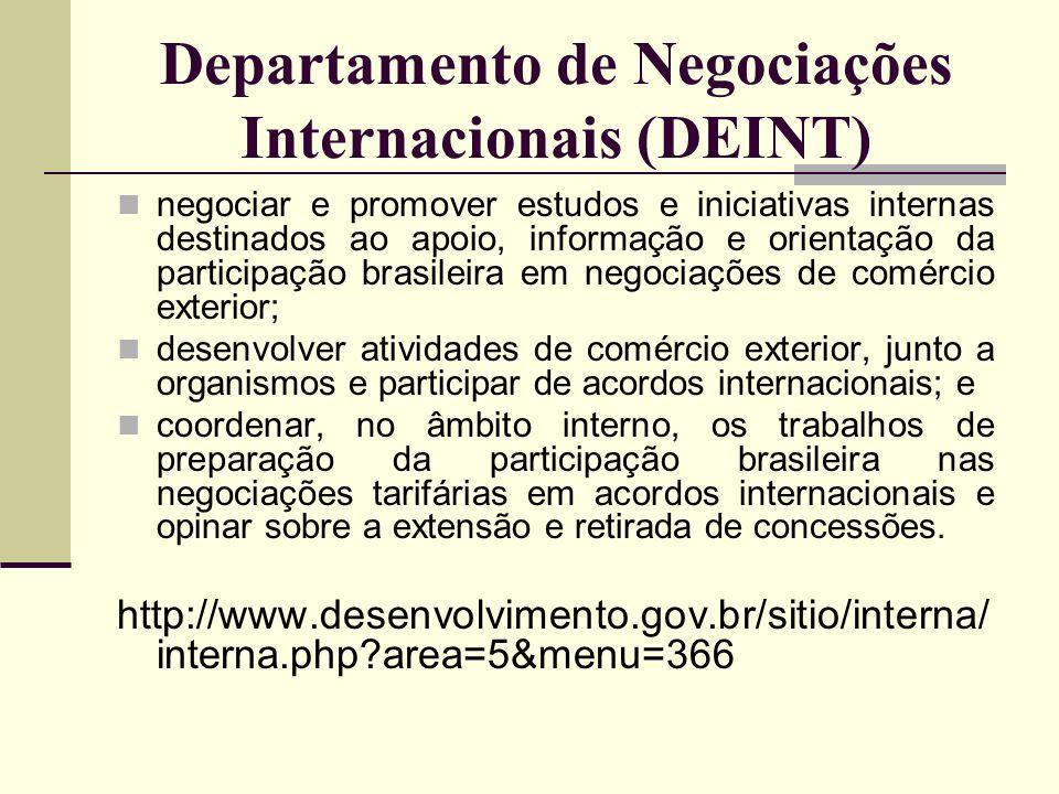 Departamento de Negociações Internacionais (DEINT) negociar e promover estudos e iniciativas internas destinados ao apoio, informação e orientação da