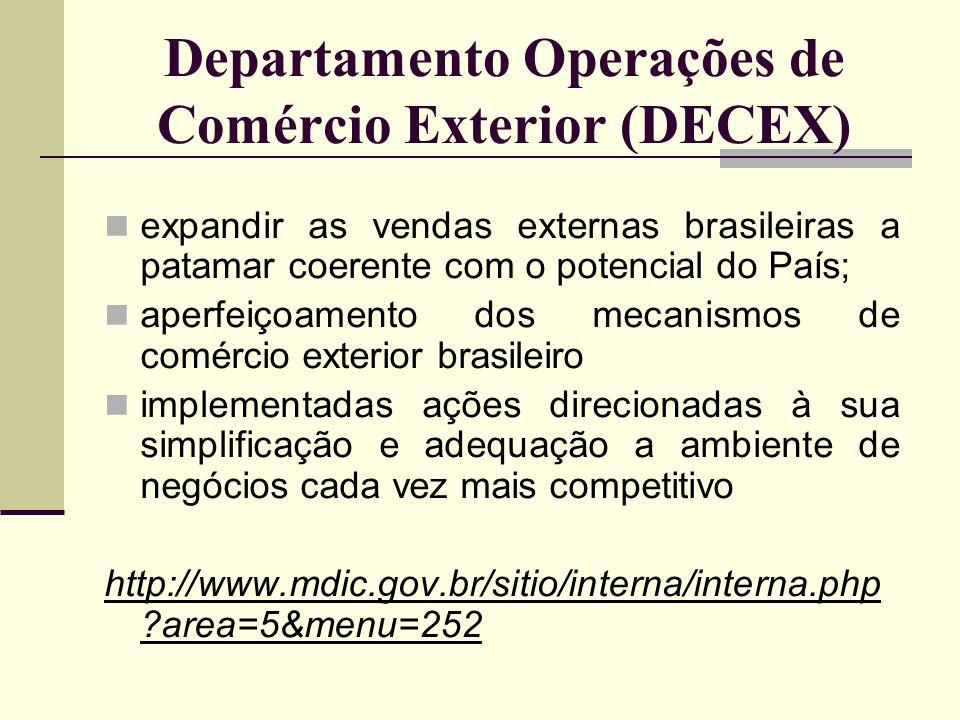Departamento Operações de Comércio Exterior (DECEX) expandir as vendas externas brasileiras a patamar coerente com o potencial do País; aperfeiçoament
