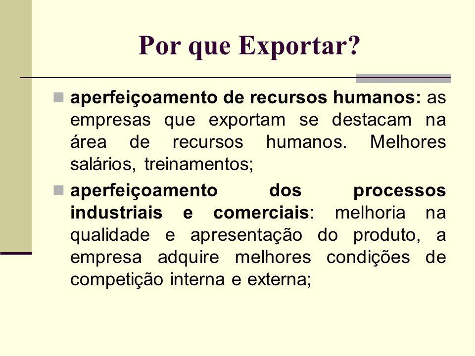 Por que Exportar? aperfeiçoamento de recursos humanos: as empresas que exportam se destacam na área de recursos humanos. Melhores salários, treinament