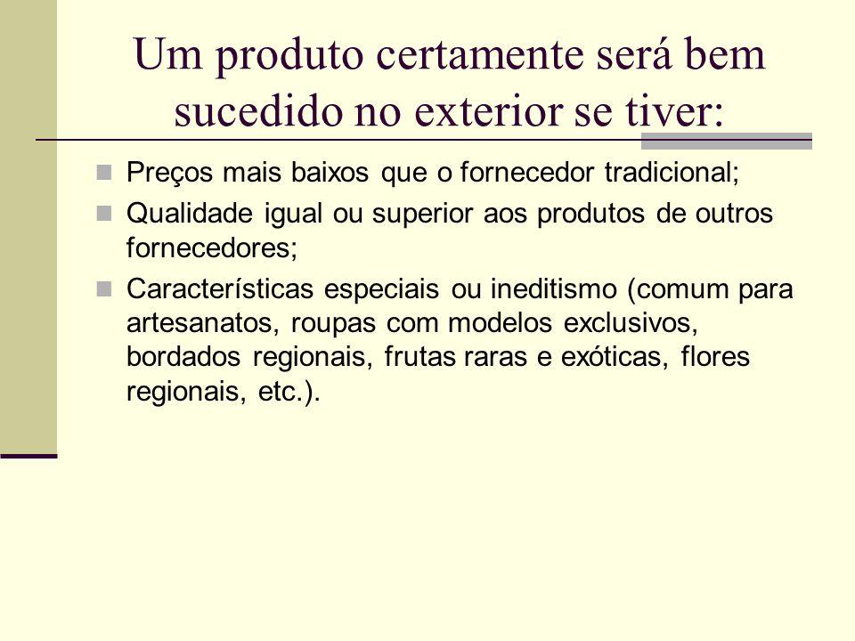 Um produto certamente será bem sucedido no exterior se tiver: Preços mais baixos que o fornecedor tradicional; Qualidade igual ou superior aos produto