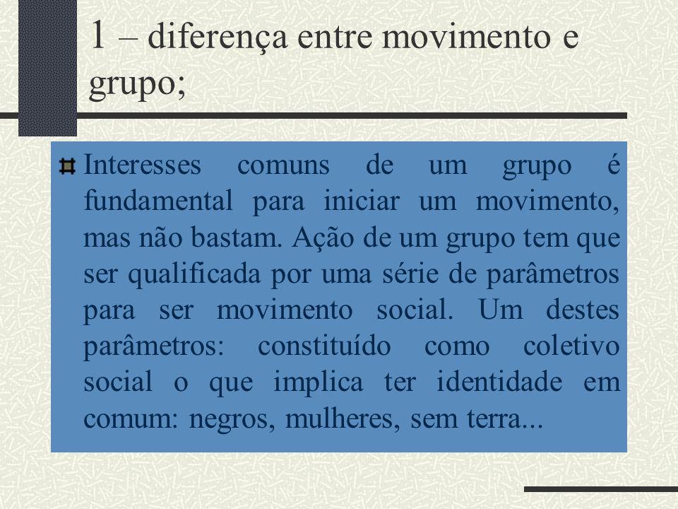 1 – diferença entre movimento e grupo; Interesses comuns de um grupo é fundamental para iniciar um movimento, mas não bastam. Ação de um grupo tem que