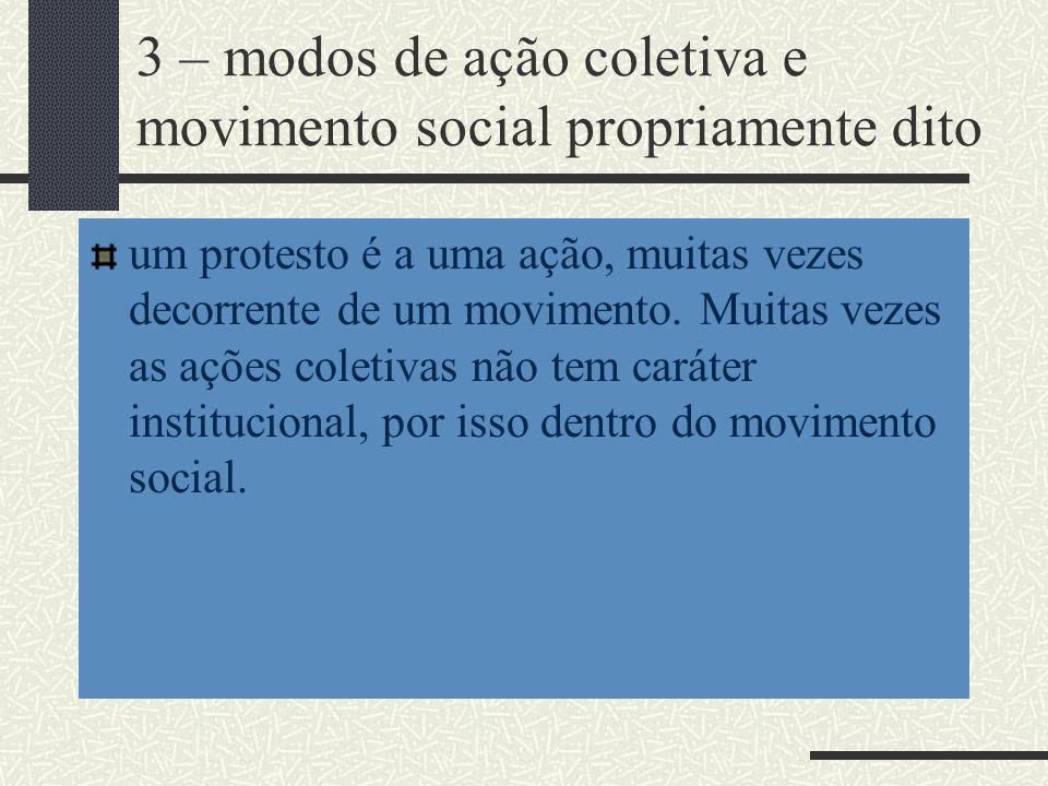 3 – modos de ação coletiva e movimento social propriamente dito um protesto é a uma ação, muitas vezes decorrente de um movimento. Muitas vezes as açõ