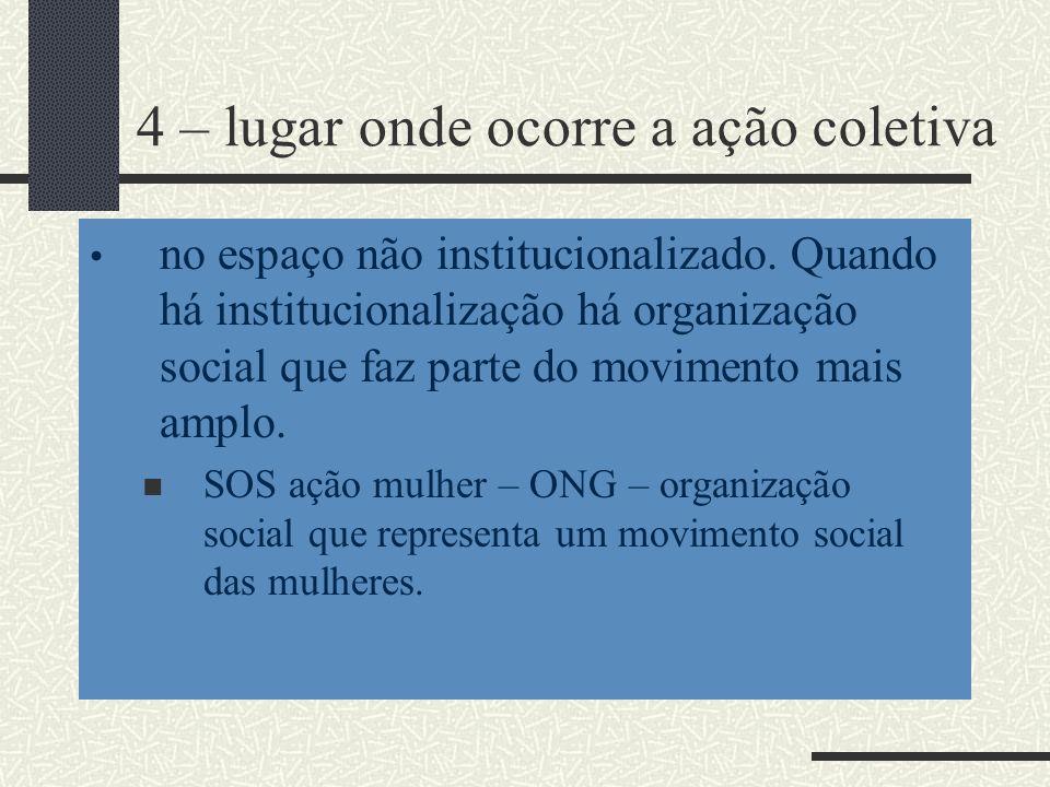4 – lugar onde ocorre a ação coletiva no espaço não institucionalizado. Quando há institucionalização há organização social que faz parte do movimento