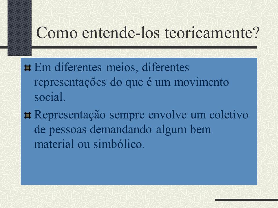 Como entende-los teoricamente? Em diferentes meios, diferentes representações do que é um movimento social. Representação sempre envolve um coletivo d