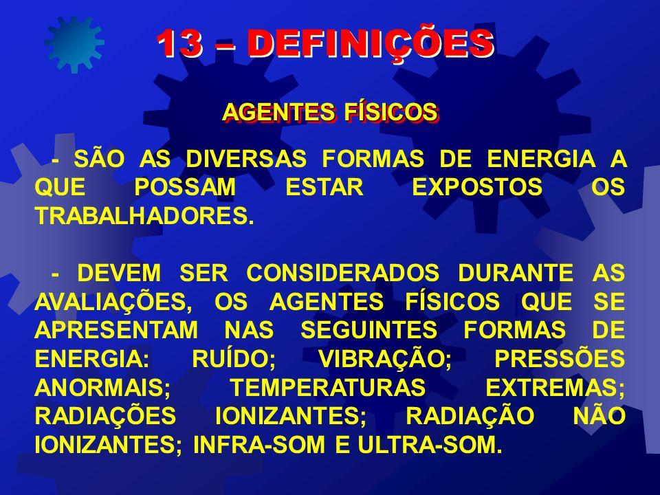 13 – DEFINIÇÕES RISCOS AMBIENTAIS PARA EFEITO DA NR – 9, ITEM 9.1.5, QUE TRATA DO PPRA, SÃO CONSIDERADOS RISCOS AMBIENTAIS OS AGENTES FÍSICOS, QUÍMICO