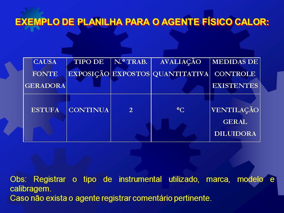 EXEMPLO DE PLANILHA PARA AVALIAÇÃO DO AGENTE FÍSICO RUÍDO: (REGISTRAR O TIPO DE INSTRUMENTAL UTILIZADO, MARCA, MODELO E CALIBRAGEM)