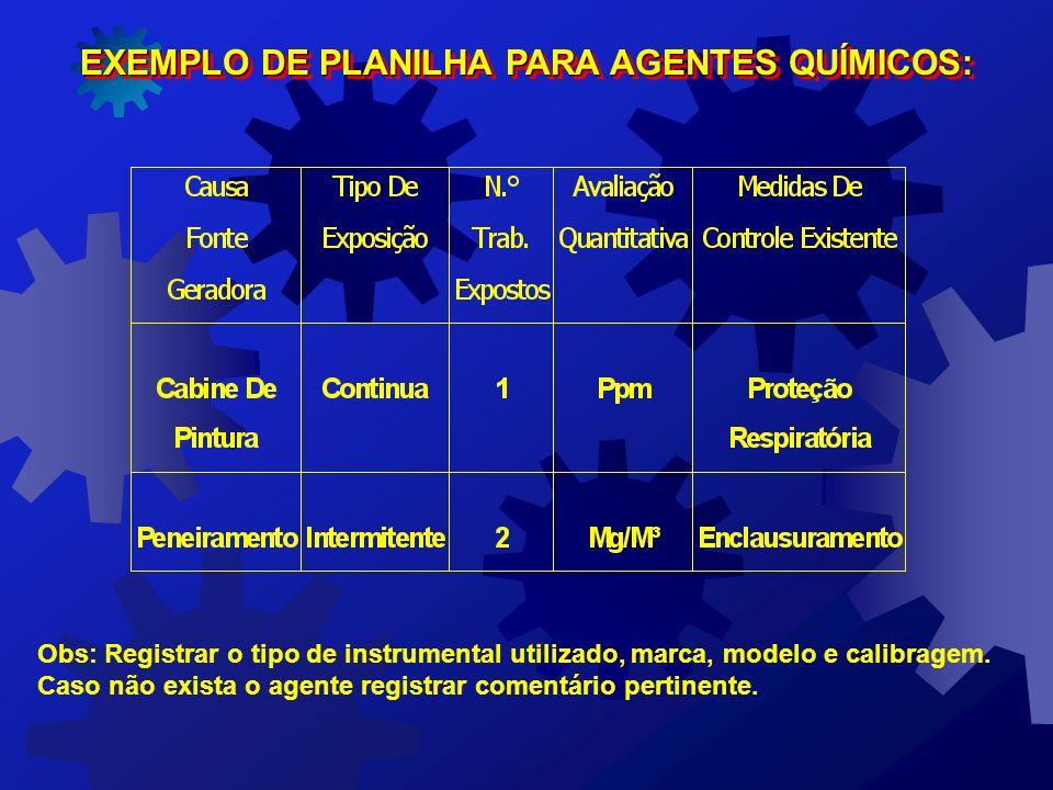 EXEMPLO DE PLANILHA PARA O AGENTE FÍSICO CALOR: Obs: Registrar o tipo de instrumental utilizado, marca, modelo e calibragem. Caso não exista o agente
