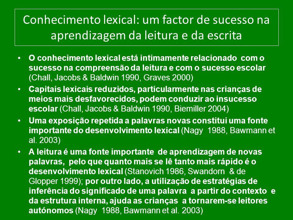Conhecimento lexical: um factor de sucesso na aprendizagem da leitura e da escrita O conhecimento lexical está intimamente relacionado com o sucesso n