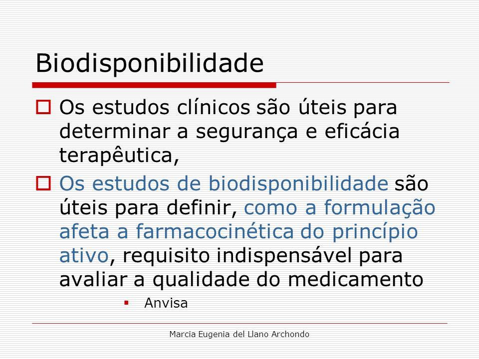 Marcia Eugenia del Llano Archondo Biodisponibilidade Os estudos clínicos são úteis para determinar a segurança e eficácia terapêutica, Os estudos de b