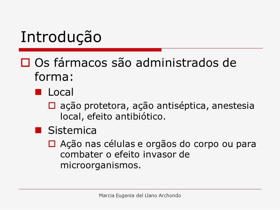 Marcia Eugenia del Llano Archondo Introdução Os fármacos são administrados de forma: Local ação protetora, ação antiséptica, anestesia local, efeito a