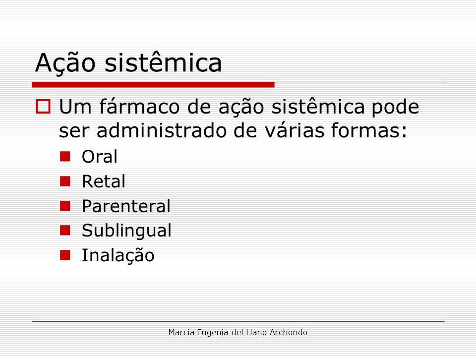 Marcia Eugenia del Llano Archondo Ação sistêmica Um fármaco de ação sistêmica pode ser administrado de várias formas: Oral Retal Parenteral Sublingual