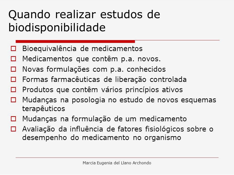 Marcia Eugenia del Llano Archondo Quando realizar estudos de biodisponibilidade Bioequivalência de medicamentos Medicamentos que contêm p.a. novos. No