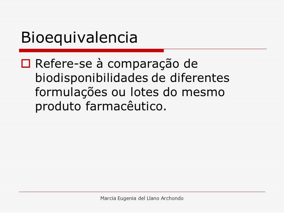 Marcia Eugenia del Llano Archondo Bioequivalencia Refere-se à comparação de biodisponibilidades de diferentes formulações ou lotes do mesmo produto fa
