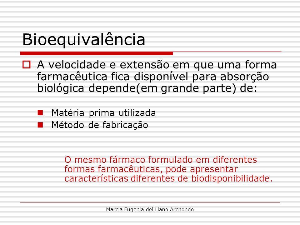 Marcia Eugenia del Llano Archondo Bioequivalência A velocidade e extensão em que uma forma farmacêutica fica disponível para absorção biológica depend
