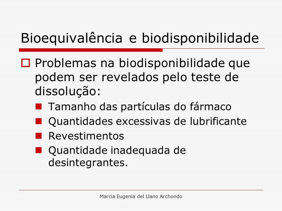 Marcia Eugenia del Llano Archondo Bioequivalência e biodisponibilidade Problemas na biodisponibilidade que podem ser revelados pelo teste de dissoluçã