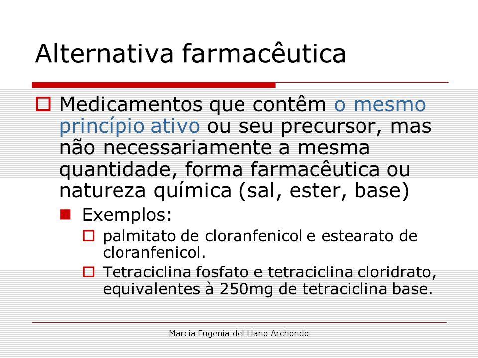 Marcia Eugenia del Llano Archondo Alternativa farmacêutica Medicamentos que contêm o mesmo princípio ativo ou seu precursor, mas não necessariamente a