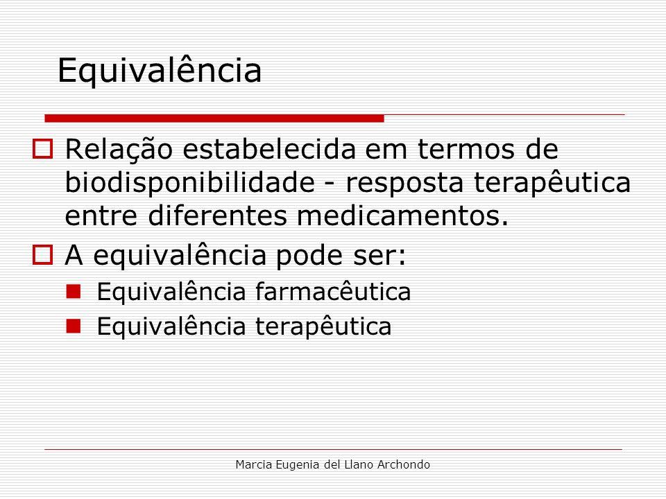 Marcia Eugenia del Llano Archondo Relação estabelecida em termos de biodisponibilidade - resposta terapêutica entre diferentes medicamentos. A equival