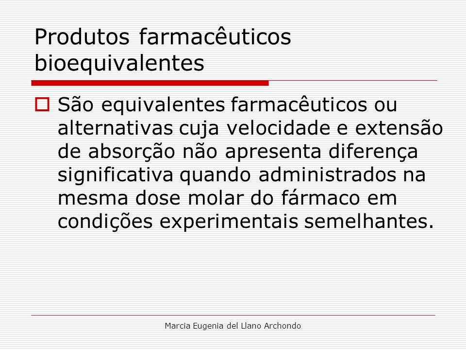 Marcia Eugenia del Llano Archondo Produtos farmacêuticos bioequivalentes São equivalentes farmacêuticos ou alternativas cuja velocidade e extensão de