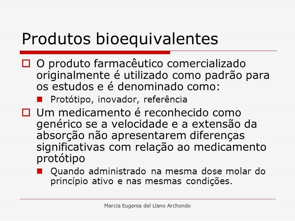 Marcia Eugenia del Llano Archondo Produtos bioequivalentes O produto farmacêutico comercializado originalmente é utilizado como padrão para os estudos