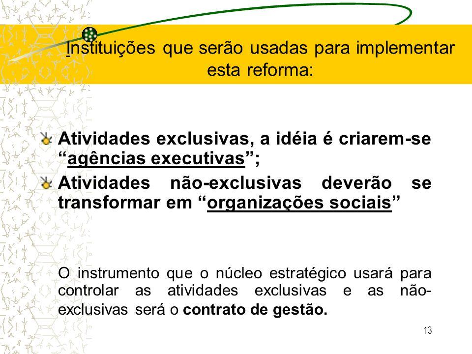 13 Instituições que serão usadas para implementar esta reforma: Atividades exclusivas, a idéia é criarem-seagências executivas; Atividades não-exclusi