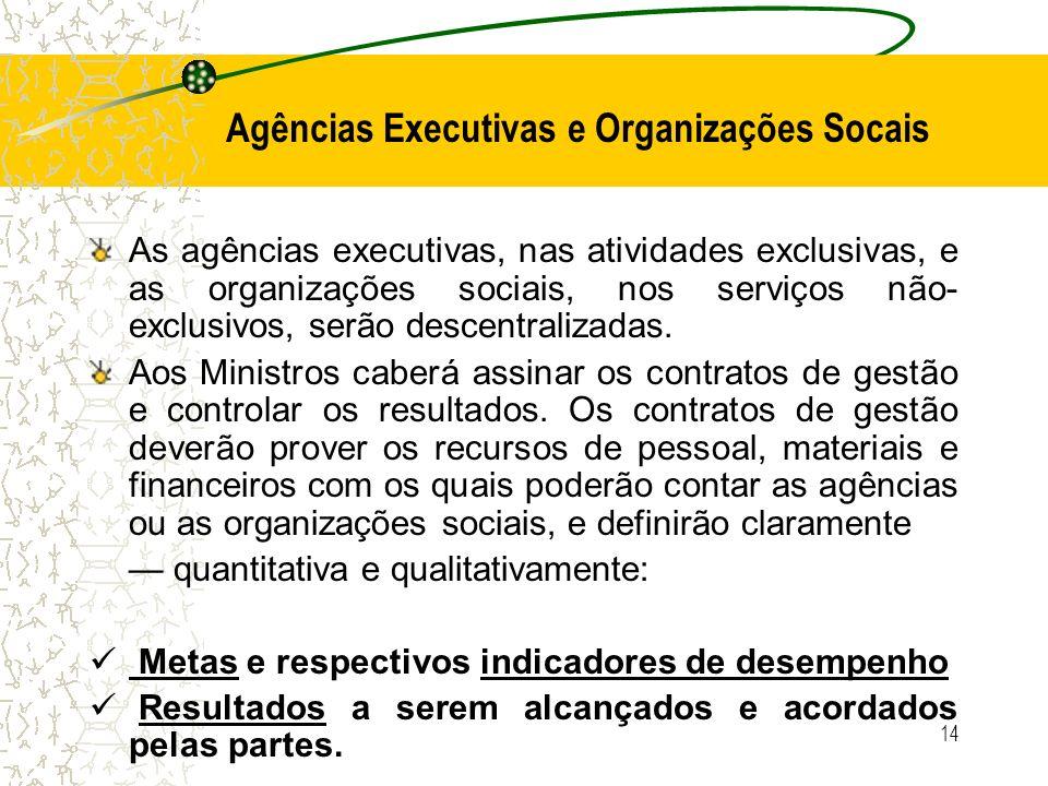 14 Agências Executivas e Organizações Socais As agências executivas, nas atividades exclusivas, e as organizações sociais, nos serviços não- exclusivo