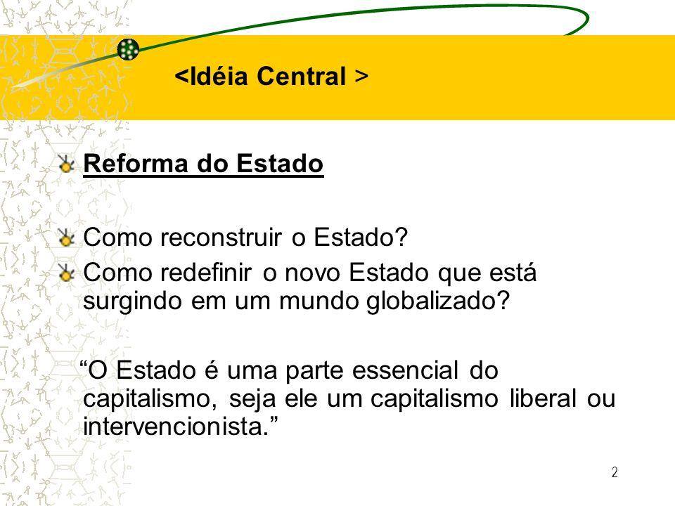 2 Reforma do Estado Como reconstruir o Estado? Como redefinir o novo Estado que está surgindo em um mundo globalizado? O Estado é uma parte essencial
