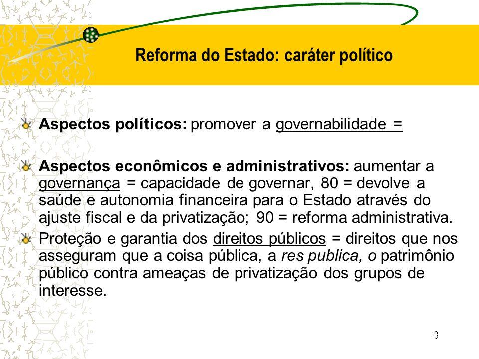 3 Reforma do Estado: caráter político Aspectos políticos: promover a governabilidade = Aspectos econômicos e administrativos: aumentar a governança =