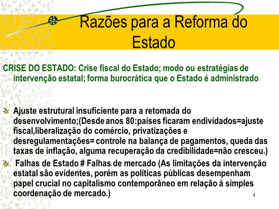 4 Razões para a Reforma do Estado CRISE DO ESTADO: Crise fiscal do Estado; modo ou estratégias de intervenção estatal; forma burocrática que o Estado