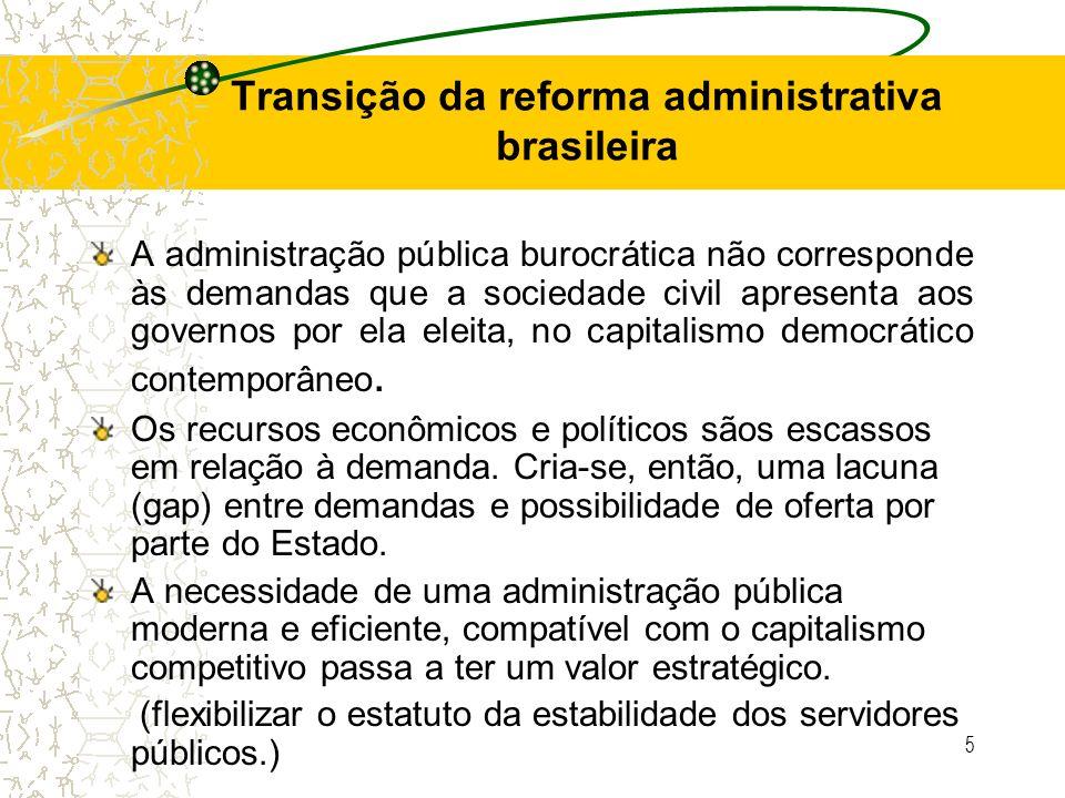 5 Transição da reforma administrativa brasileira A administração pública burocrática não corresponde às demandas que a sociedade civil apresenta aos g