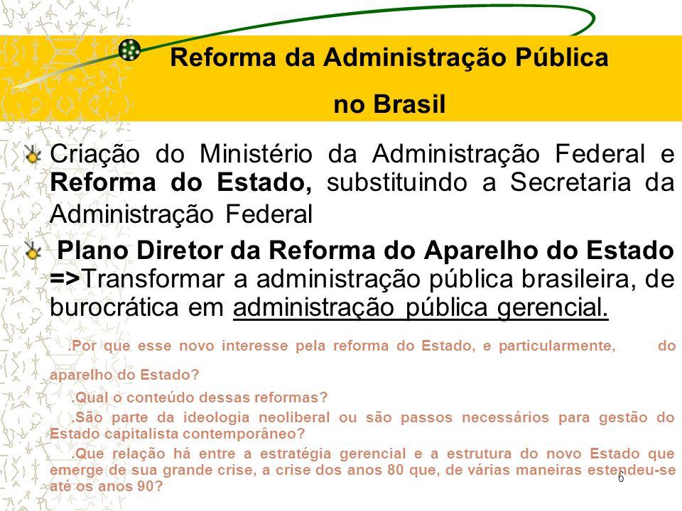 6 Reforma da Administração Pública no Brasil Criação do Ministério da Administração Federal e Reforma do Estado, substituindo a Secretaria da Administ