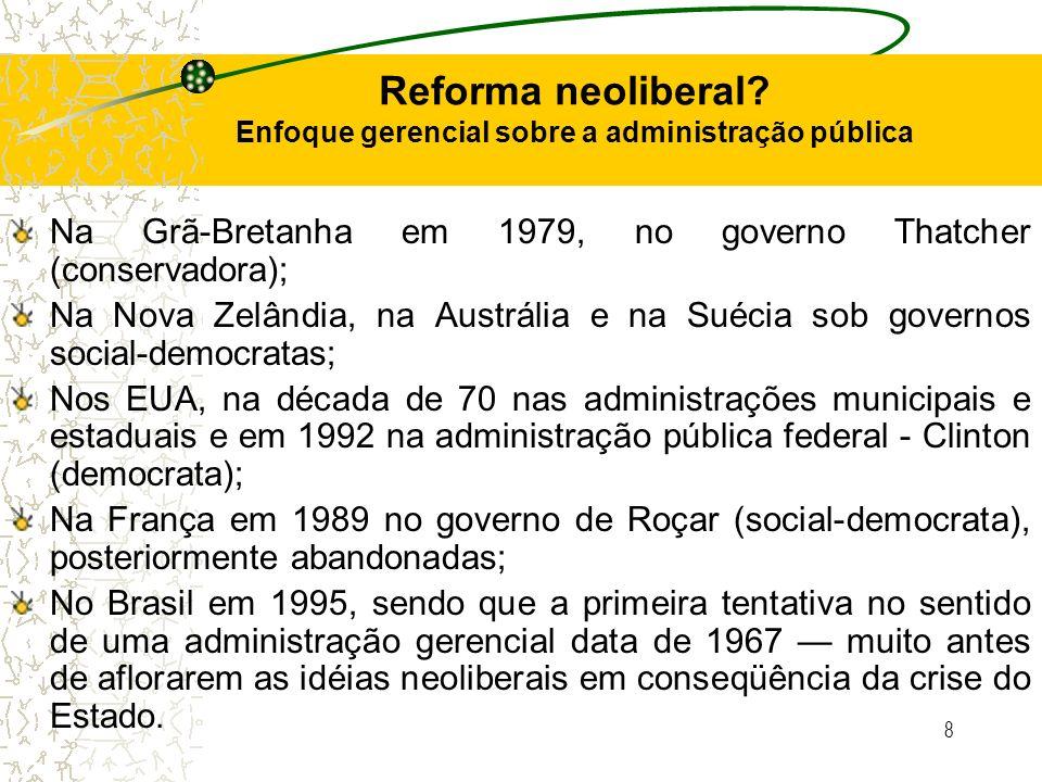 8 Reforma neoliberal? Enfoque gerencial sobre a administração pública Na Grã-Bretanha em 1979, no governo Thatcher (conservadora); Na Nova Zelândia, n