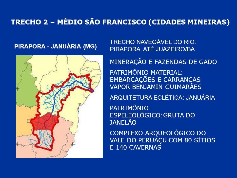 TRECHO 2 – MÉDIO SÃO FRANCISCO (CIDADES MINEIRAS) PIRAPORA - JANUÁRIA (MG) MINERAÇÃO E FAZENDAS DE GADO PATRIMÔNIO MATERIAL: EMBARCAÇÕES E CARRANCAS V