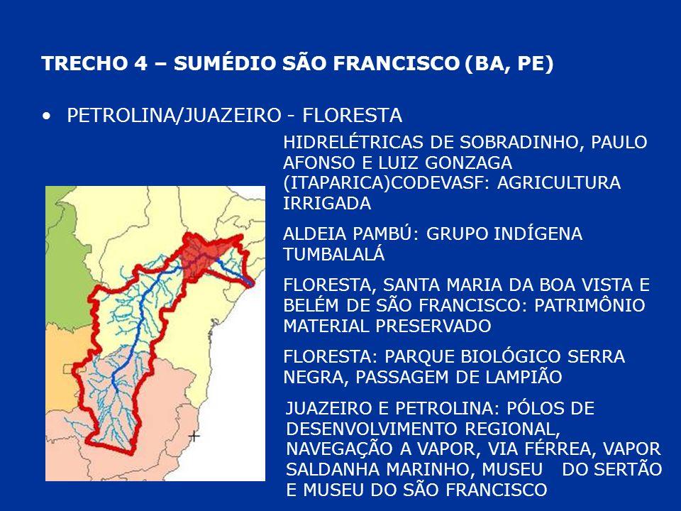 TRECHO 4 – SUMÉDIO SÃO FRANCISCO (BA, PE) PETROLINA/JUAZEIRO - FLORESTA HIDRELÉTRICAS DE SOBRADINHO, PAULO AFONSO E LUIZ GONZAGA (ITAPARICA)CODEVASF: