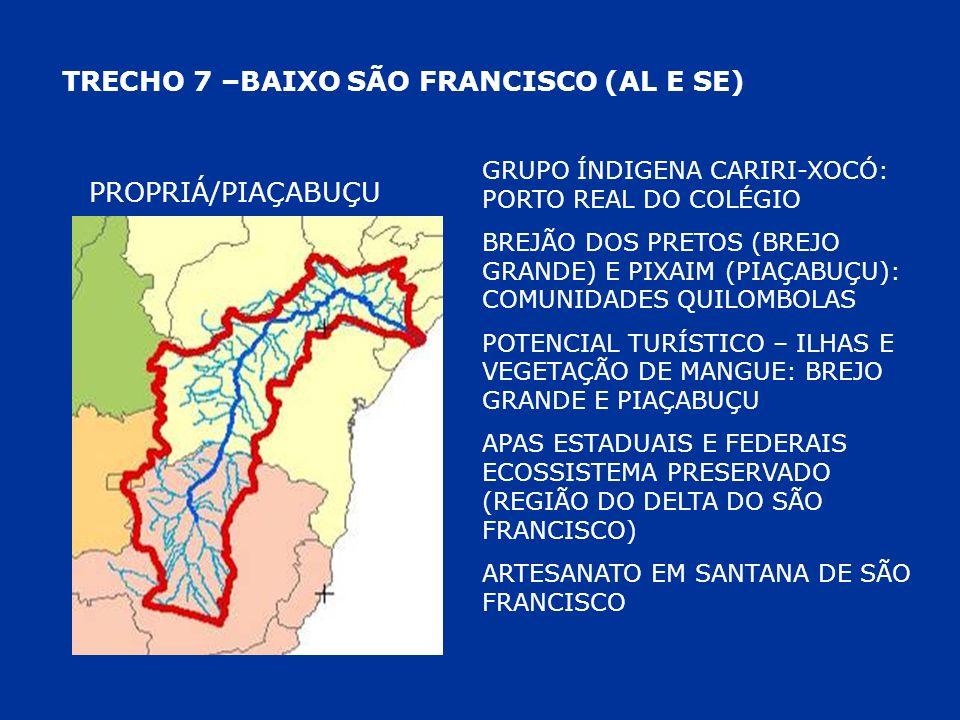 TRECHO 7 –BAIXO SÃO FRANCISCO (AL E SE) PROPRIÁ/PIAÇABUÇU GRUPO ÍNDIGENA CARIRI-XOCÓ: PORTO REAL DO COLÉGIO BREJÃO DOS PRETOS (BREJO GRANDE) E PIXAIM