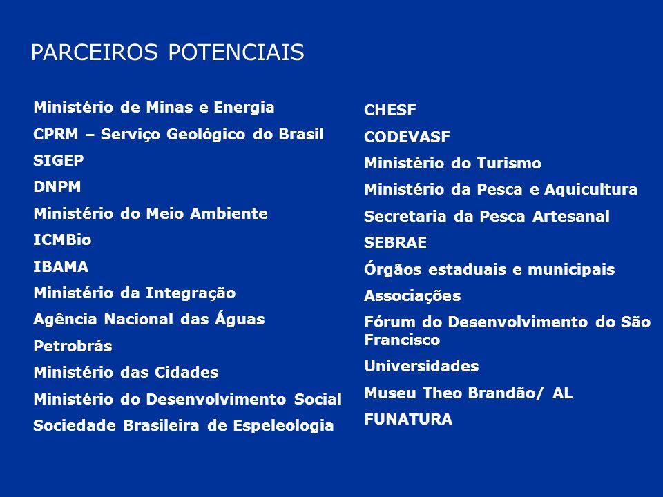 PARCEIROS POTENCIAIS Ministério de Minas e Energia CPRM – Serviço Geológico do Brasil SIGEP DNPM Ministério do Meio Ambiente ICMBio IBAMA Ministério d