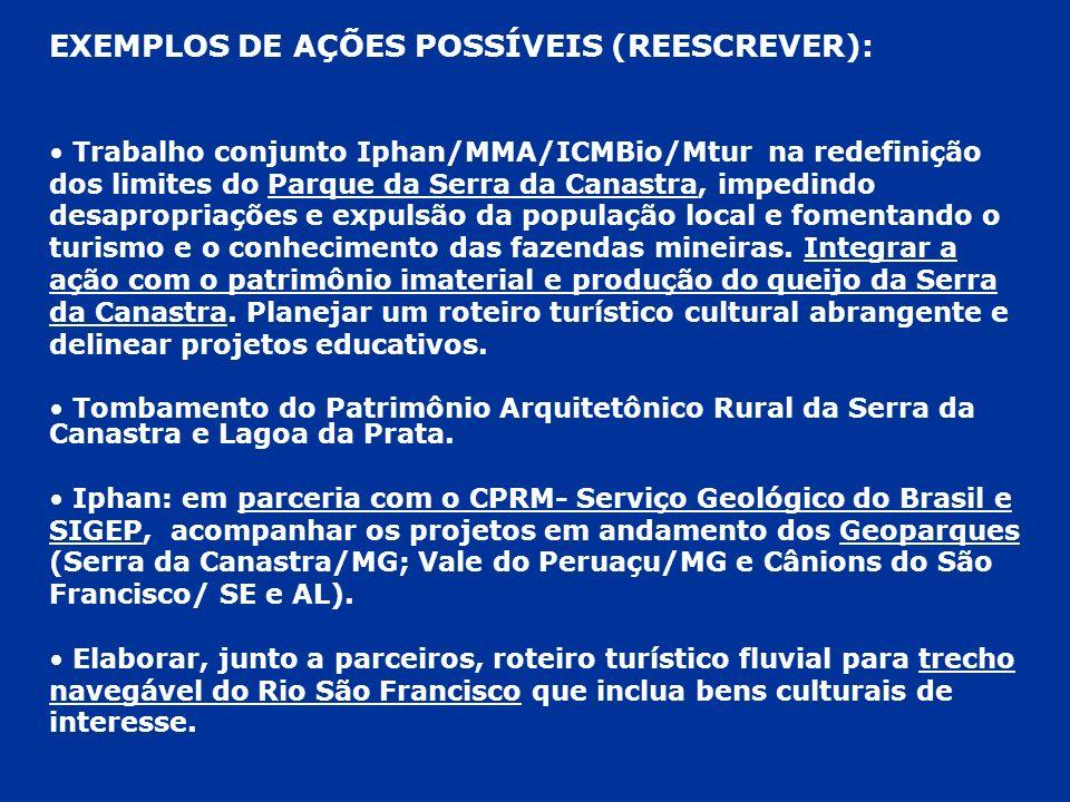 EXEMPLOS DE AÇÕES POSSÍVEIS (REESCREVER): Trabalho conjunto Iphan/MMA/ICMBio/Mtur na redefinição dos limites do Parque da Serra da Canastra, impedindo
