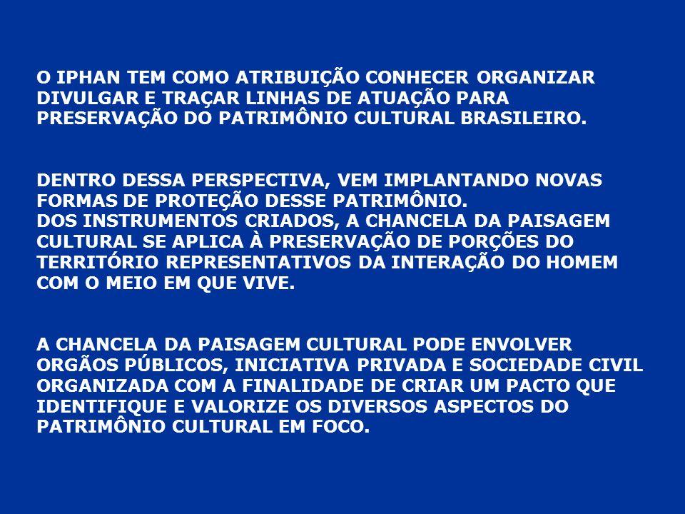 O IPHAN TEM COMO ATRIBUIÇÃO CONHECER ORGANIZAR DIVULGAR E TRAÇAR LINHAS DE ATUAÇÃO PARA PRESERVAÇÃO DO PATRIMÔNIO CULTURAL BRASILEIRO. DENTRO DESSA PE