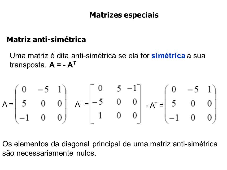 Matrizes especiais Uma matriz é dita anti-simétrica se ela for simétrica à sua transposta. A = - A T Matriz anti-simétrica Os elementos da diagonal pr