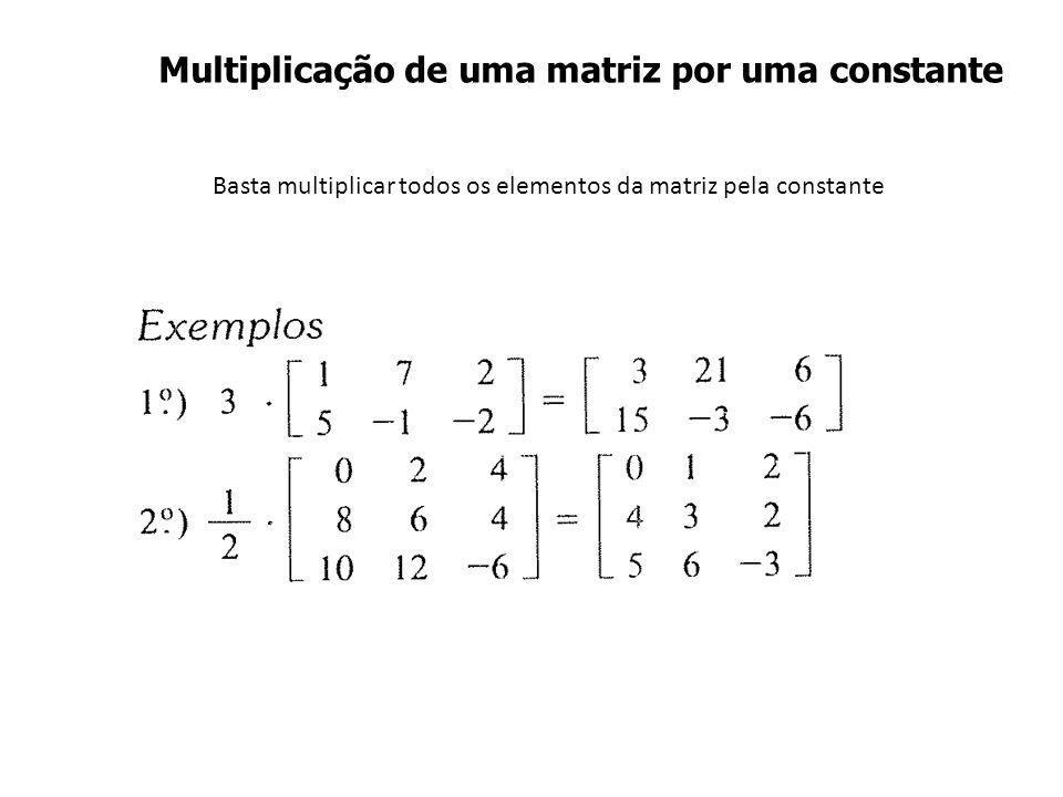 Basta multiplicar todos os elementos da matriz pela constante Multiplicação de uma matriz por uma constante